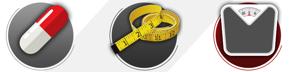 How Phenterage works to help you lose weight icons.